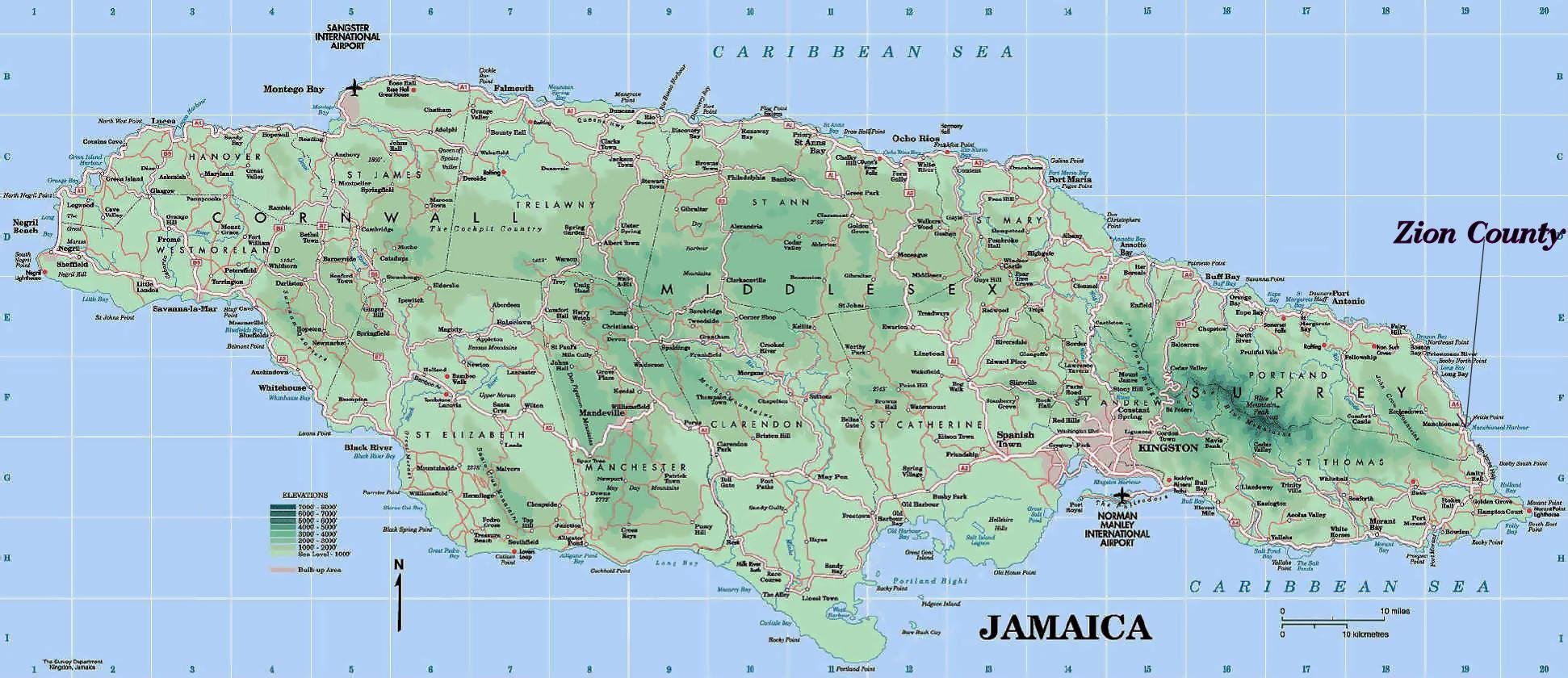 Detailed map of jamaica - Map of detailed jamaica (Caribbean - Americas)
