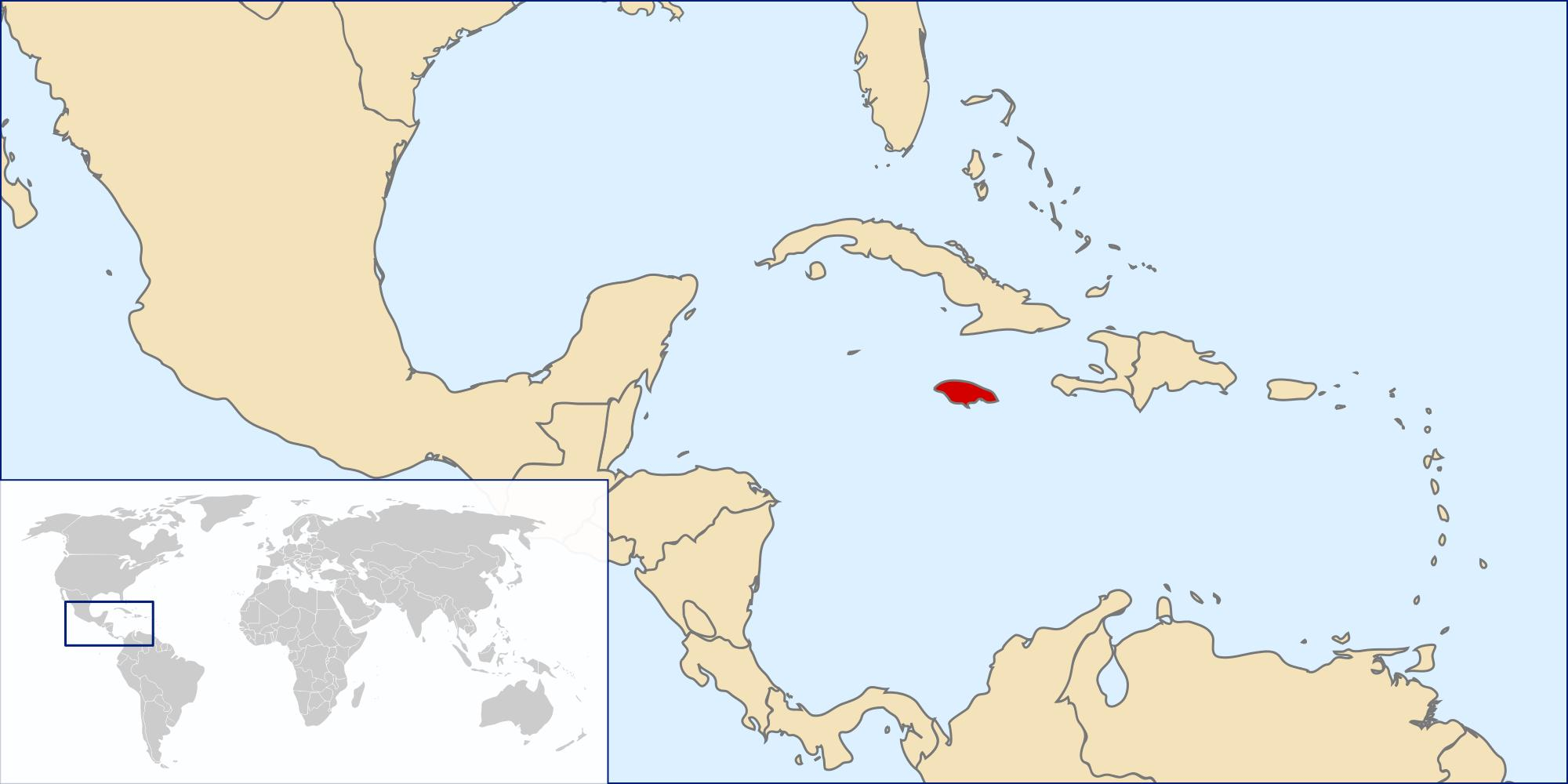 Jamaica location on world map jamaica map in world caribbean jamaica map in world gumiabroncs Image collections