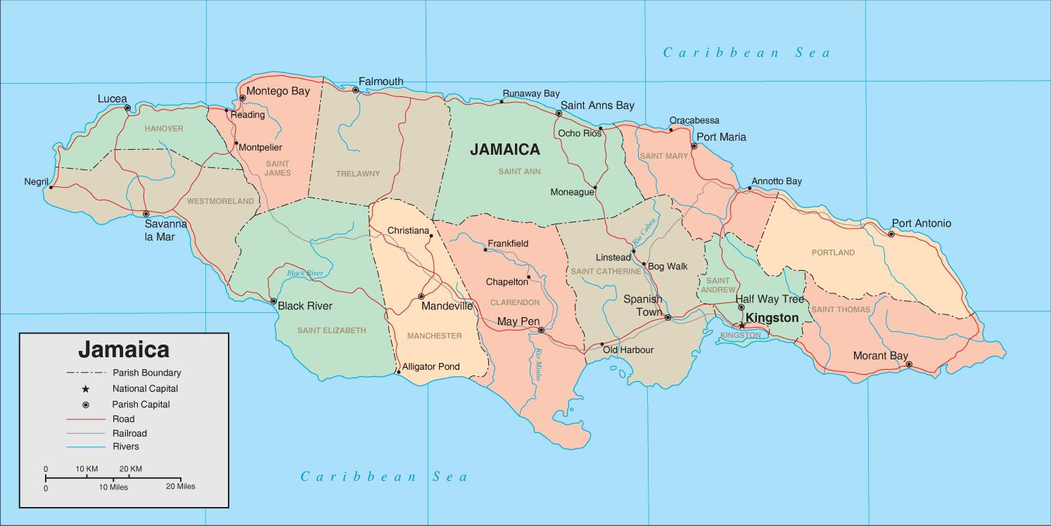 Map of jamaica west indies - Map of jamaica west indies (Caribbean ...