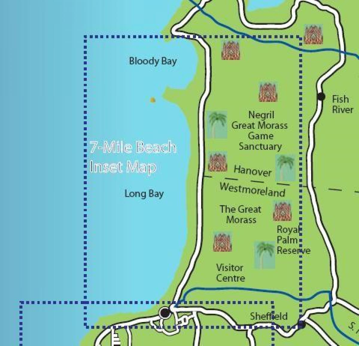 Map Of Negril Jamaica 7 Mile Beach