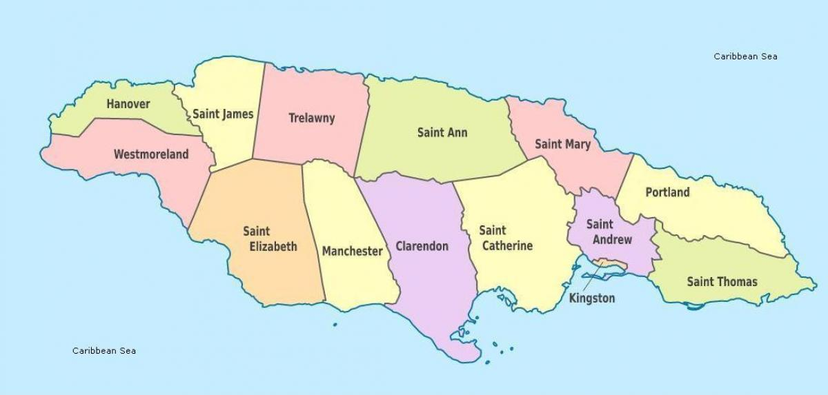 a map of jamaica with parishes and capitals