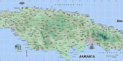 Physical map of jamaica showing mountains